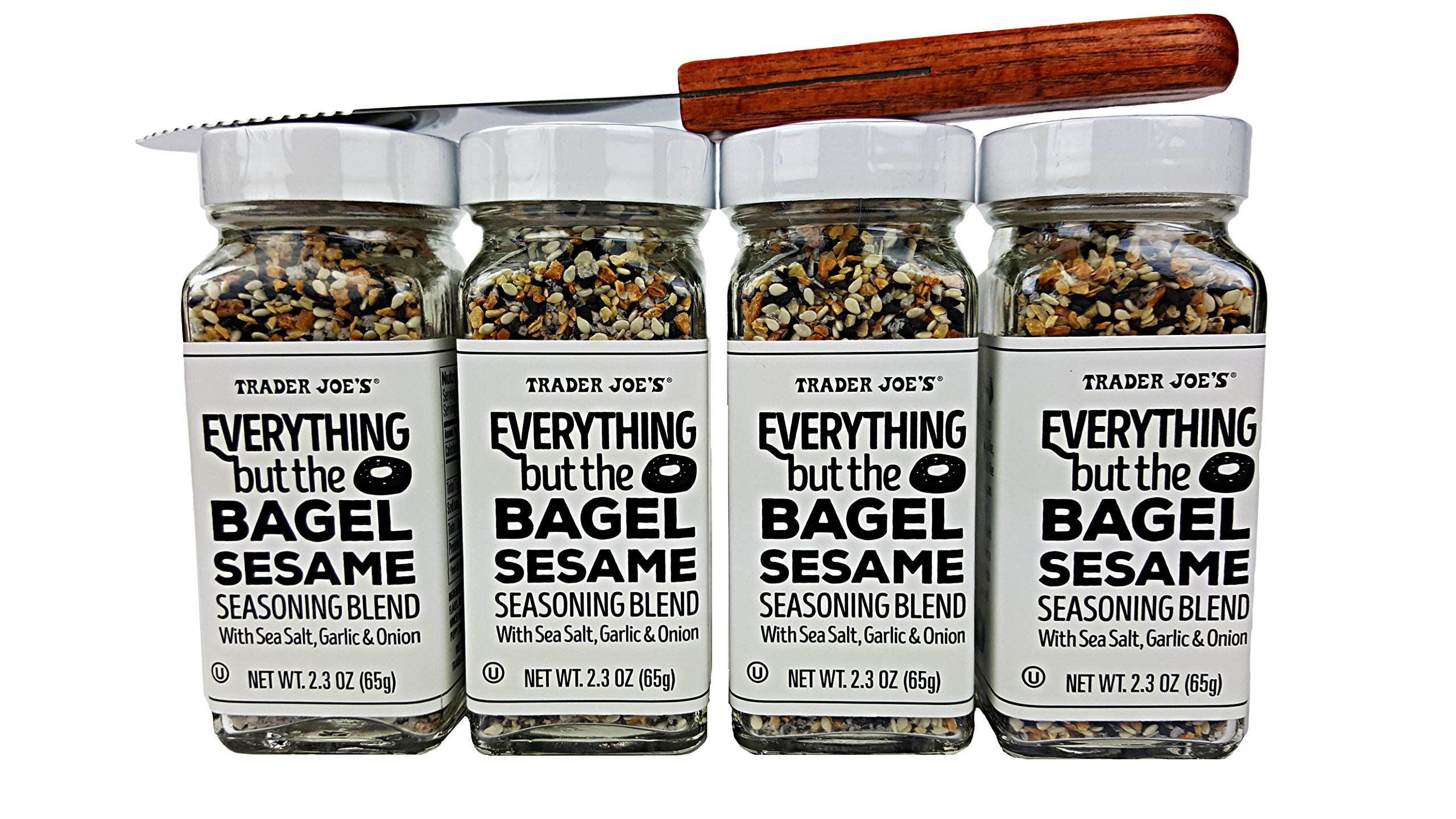 Trader Joes Everything but The Bagel Sesame Seasoning Blend With Sea Salt, Garlic and Onion Bundle - (Pack of 4) and Butter/Cream Cheese Spreading Knife by Unknown (Image #3)