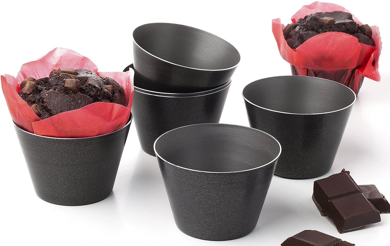 Lot de 6 moules dariole Flan muffin tartes gateaux souflés pudding anti-adhésif