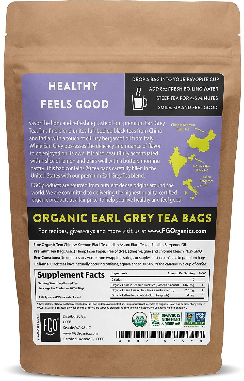 Amazon Com Organic Earl Grey Black Tea Bags 20 Tea Bags Chinese Keemun Indian Assam Italian Bergamot Blend Eco Conscious Tea Bags In Kraft Bag By Fgo Grocery Gourmet Food