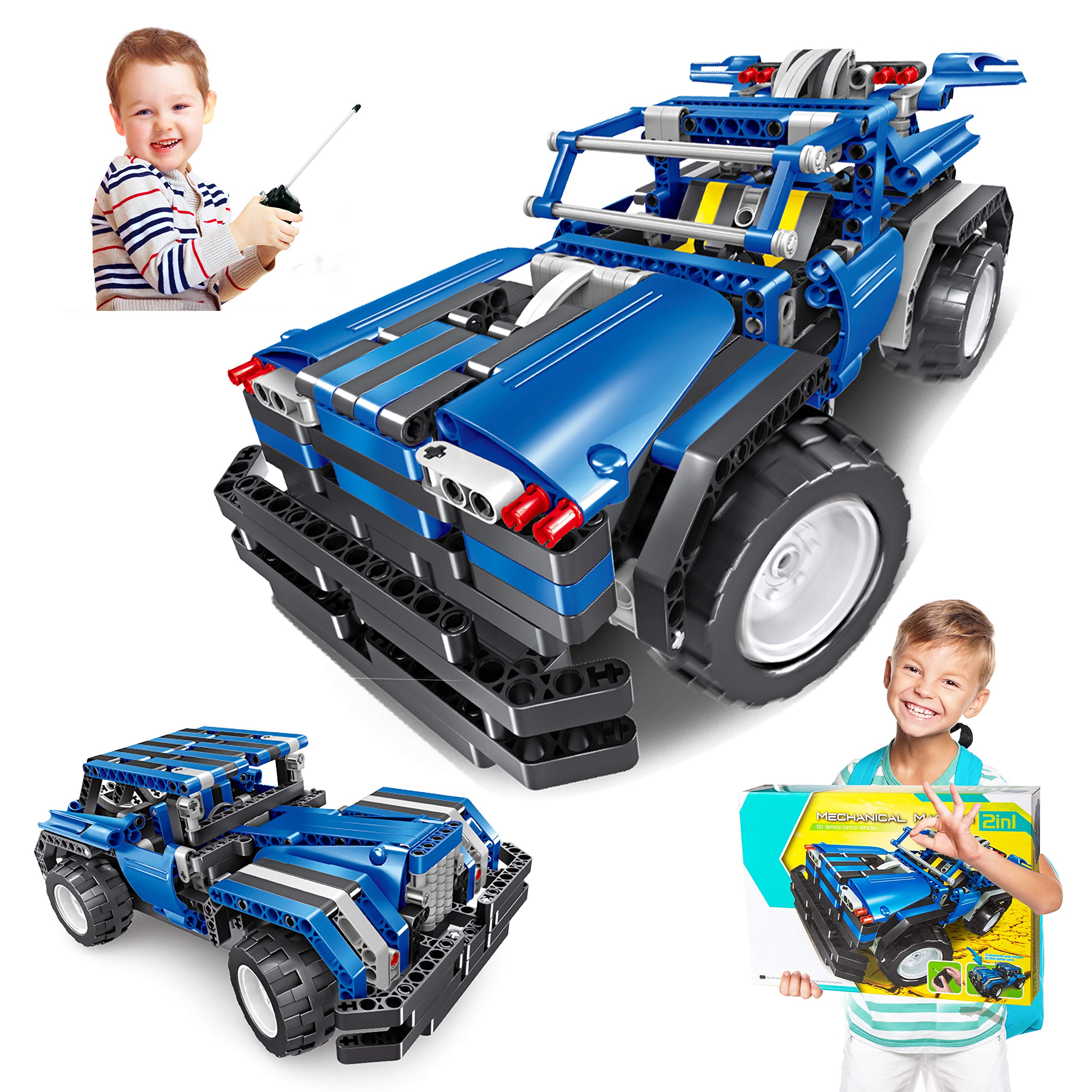 STEM Engineering Toys for Boys & Girls, Building Blocks Kit for Kids 6,7,8,9 Year Old RC Car 443pcs Educational Construction Set Birthday Gift for Age 6-14