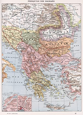 Amazon Com World Atlas Map Presqu Ile Des Balkans 1900 Historic