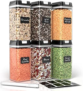 Airtight Food Storage Containers for Pantry Organization – by Simply Gourmet. 6-Piece Large 1.2L Kitchen Storage Containers. Air Tight Containers for Food Storage. BPA Free with FREE Labels & Marker