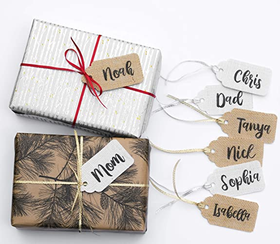 Personalized Stocking Or Gift Name Tags Rustic Christmas Burlap Name Tags Stocking Custom Order Personalized Tags Names Hanging Unique Christmas Gift