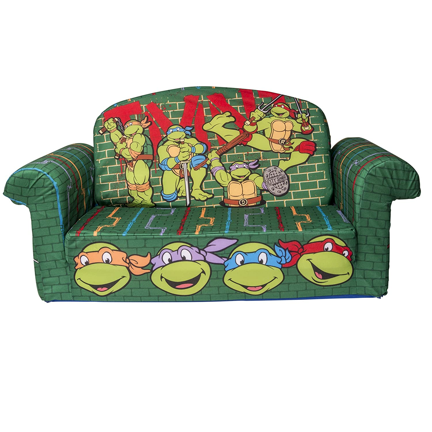 Marshmallow Furniture, 2 in 1 Flip Open Foam Sofa, Teenage Mutant Ninja Turtles, Retro, by Spin Master