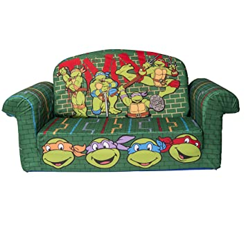 Marshmallow Furniture, Childrenu0027s 2 In 1 Flip Open Foam Sofa, Nickelodeanu0027s  Teenage Mutant Ninja