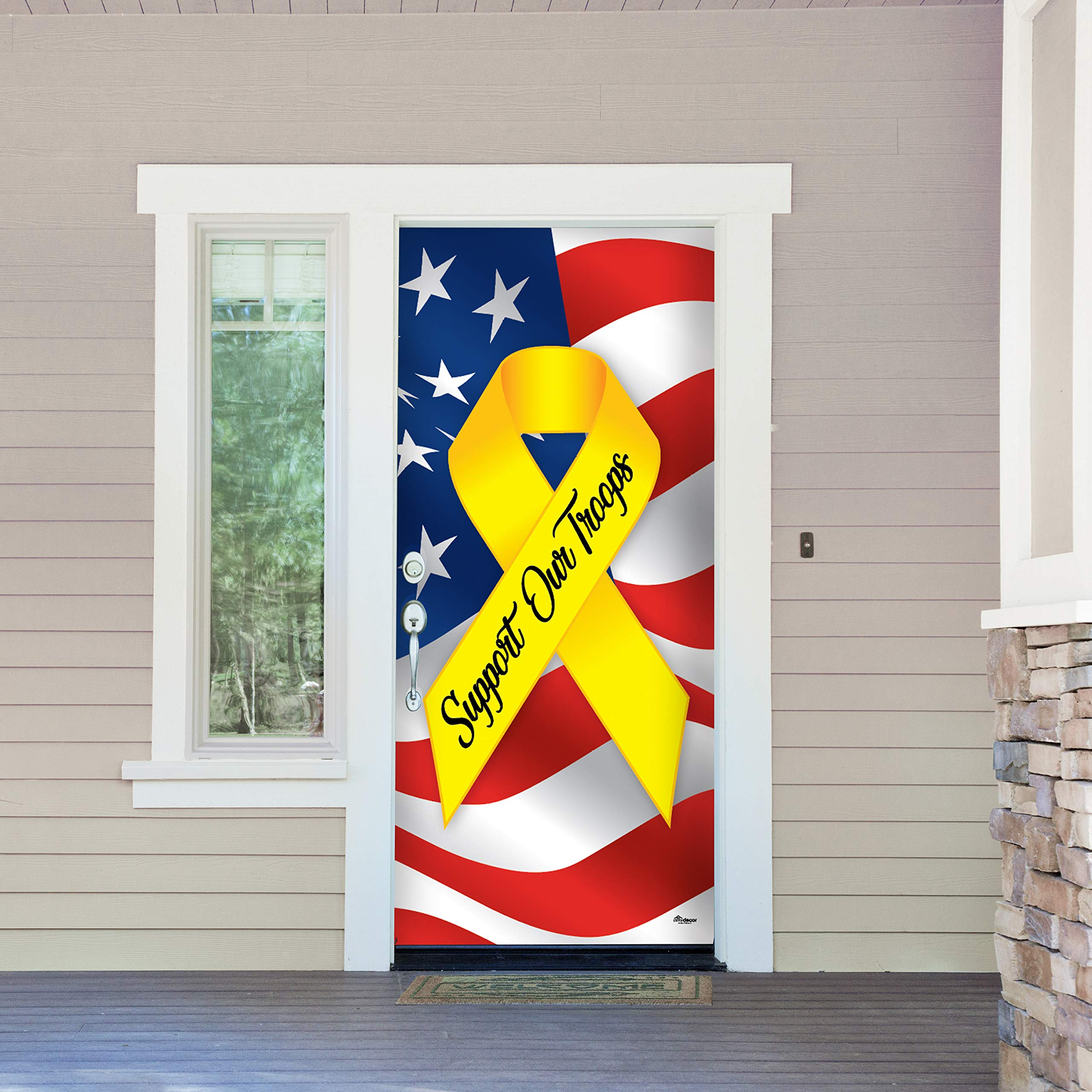 Victory Corps Support Our Troops - Patriotic Holiday Front Door Banner Mural Sign Décor 36'' x 80'' Front Door - The Original Holiday Front Door Banner Decor
