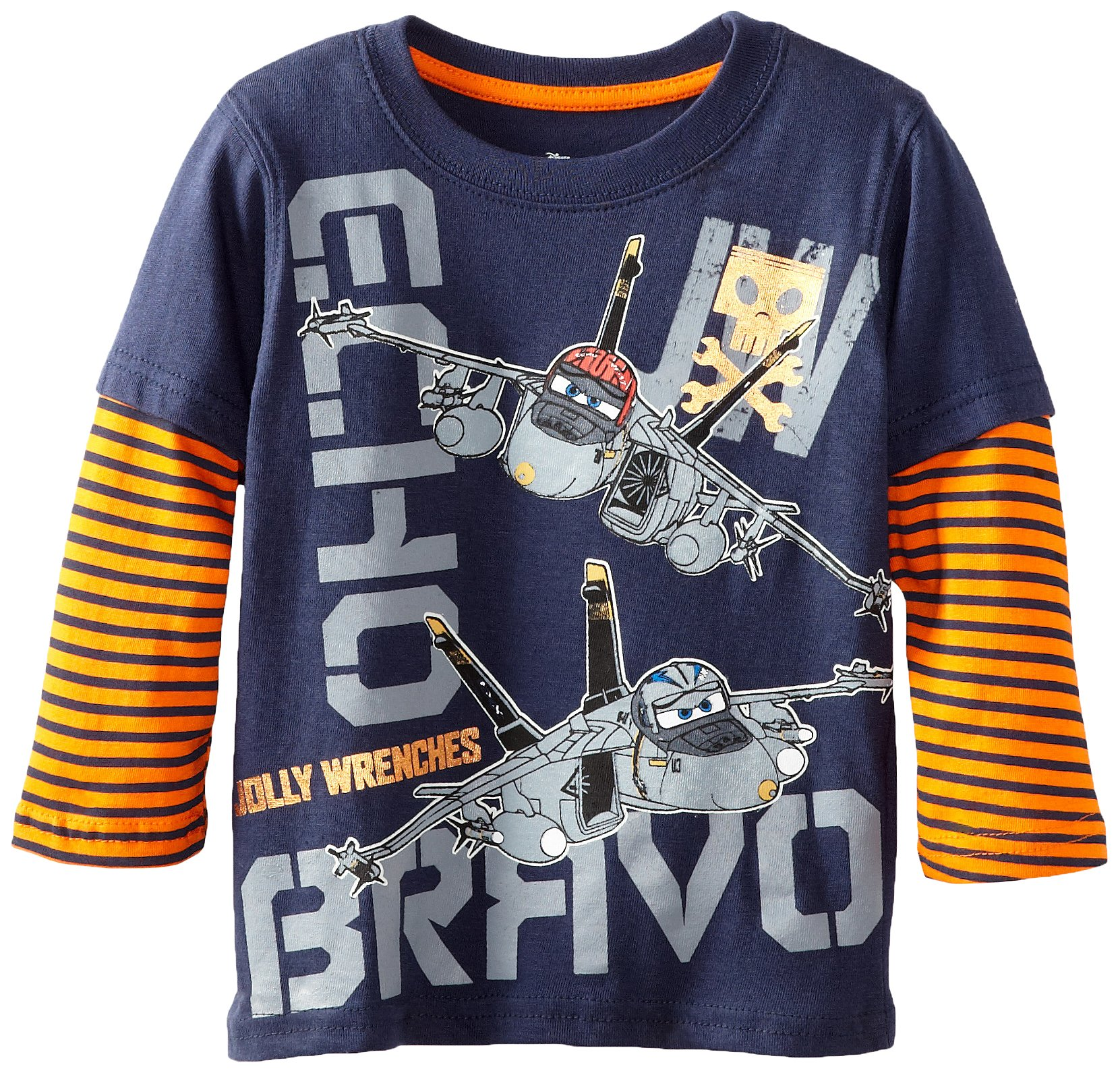 Disney Little Boys' Planes Jolly Wrenches Long Sleeve T-Shirt, Peacoat, 4T