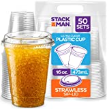 Stack Man PET16-626SL-50 16 oz. Clear Cups with Strawless Sip-Lids, [50 Sets] PET Crystal Clear Disposable 16oz Plastic…
