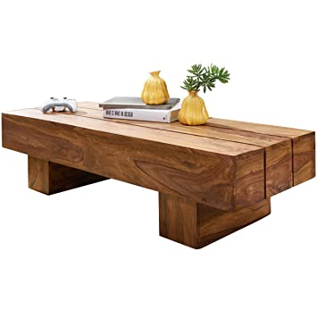 Wohnling Couchtisch Sira Massiv Holz Sheesham 120 Cm Dunkel Braun
