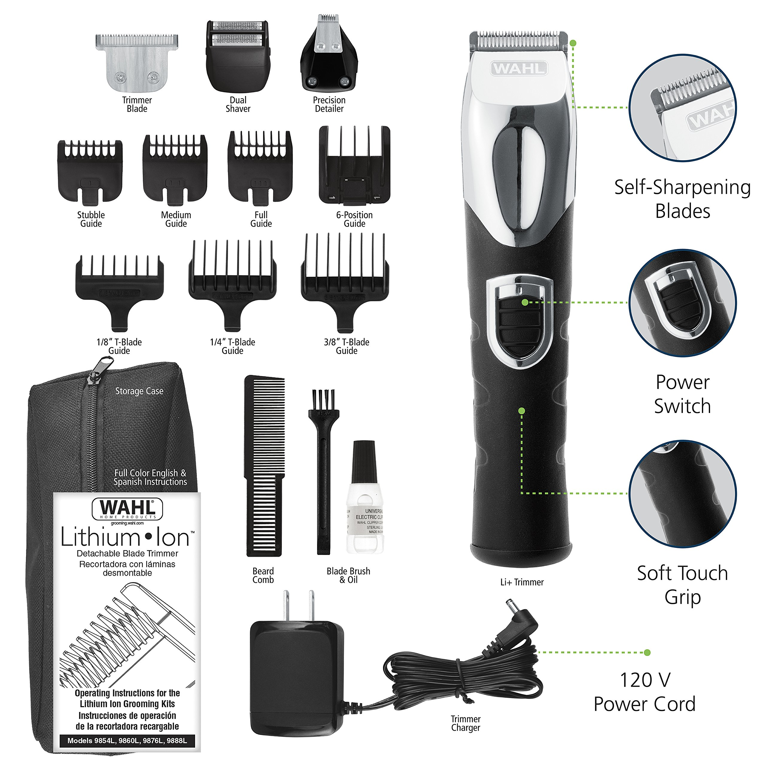 Wahl Beard Trimmer, Lithium Ion All-in-One Men's Grooming Kit with Rechargeable Beard Trimmers, Hair Clippers, and Electric Shavers by the Brand Used by Professionals #9854-600 by Wahl (Image #5)