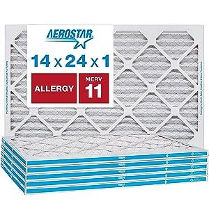 Aerostar Allergen & Pet Dander 14x24x1 MERV 11 Pleated Air Filter, Made in the USA, 6-Pack