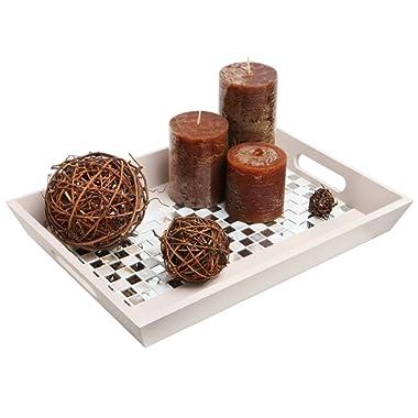 MyGift Decorative Mirror & Stone Mosaic Tile Design Double Handle Beige Wooden Serving Tray/Platter