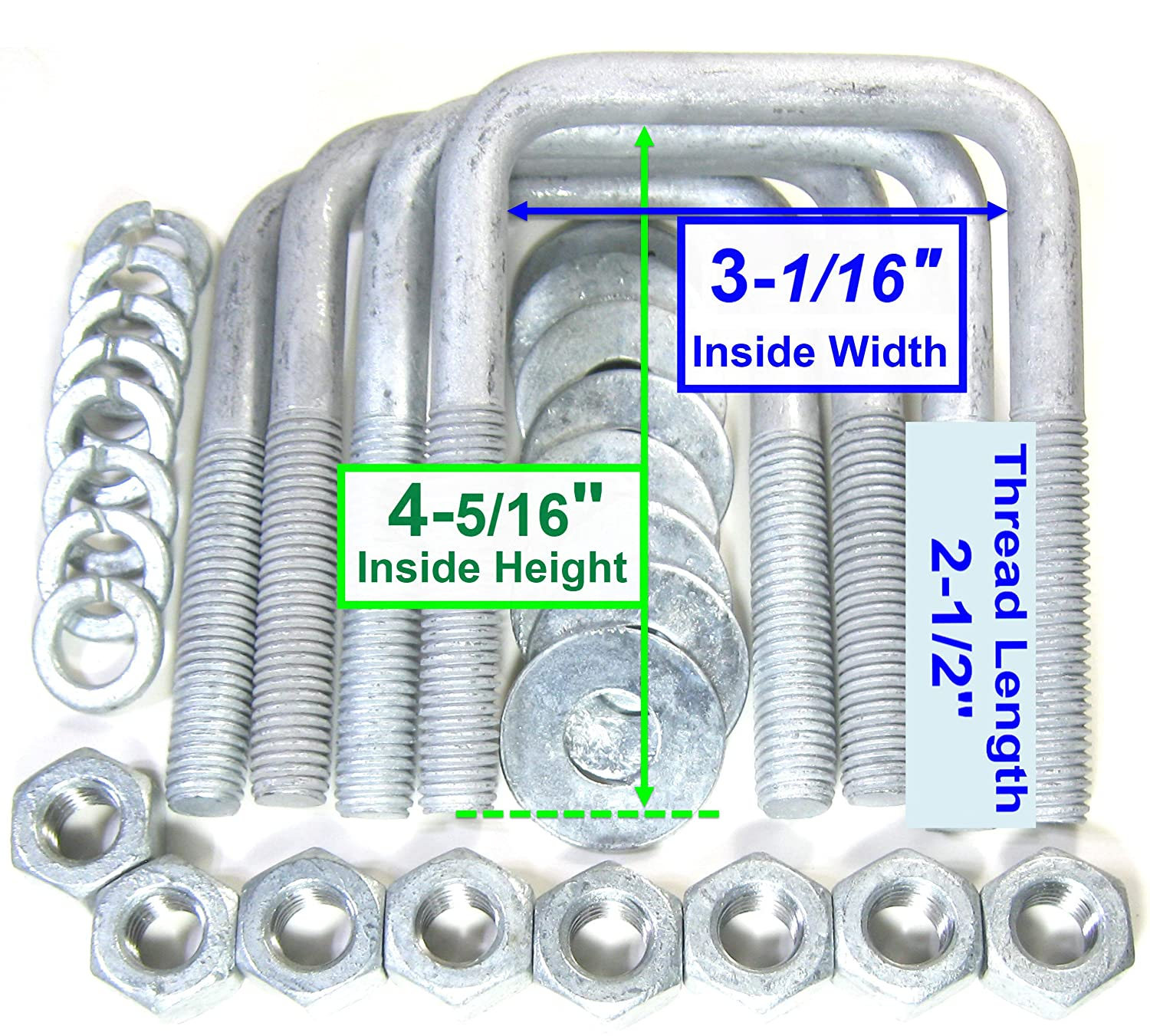 12mm Square Zinc Plated U Bolts For Boat Trailers 60mm Width x 100mm length