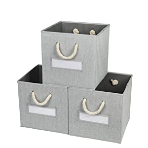 Onlycube 3 Pack Foldable Storage Bins for Cube Organizer with Cotton Rope Handles and Label Holders, Collapsible Basket Box Organizer for Shelves and Closet- Gray 13x13x13 inch