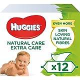 Huggies Natural Care Extra Care - Toallitas para bebé, 12 paquetes