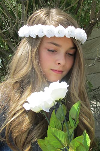 Amazon.com  Floral Headband for Little Girl - White Roses Adjustable with  Ribbon tie Photoshoot Prop Flower girl  Handmade bfc72d55d3c