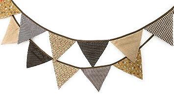 Wimpelkette Girlande Banner Fahnen 3,2m Braun Beige Punkte Dots Blumen Deko Baby  Kinderzimmer Party