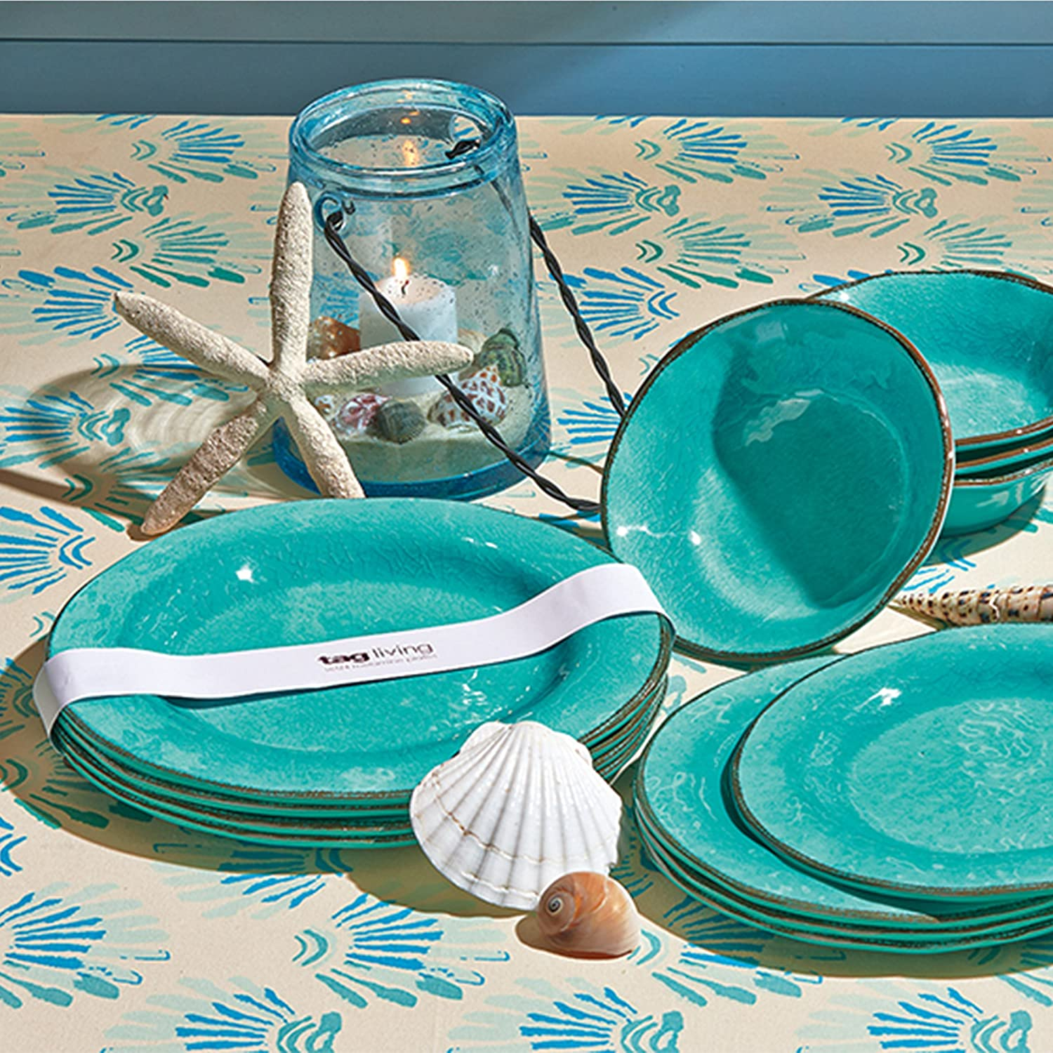 Veranda Melamine Dinner Plate Durable Ocean Blue tag BPA-Free and Great for Outdoor or Casual Meals Set of 4