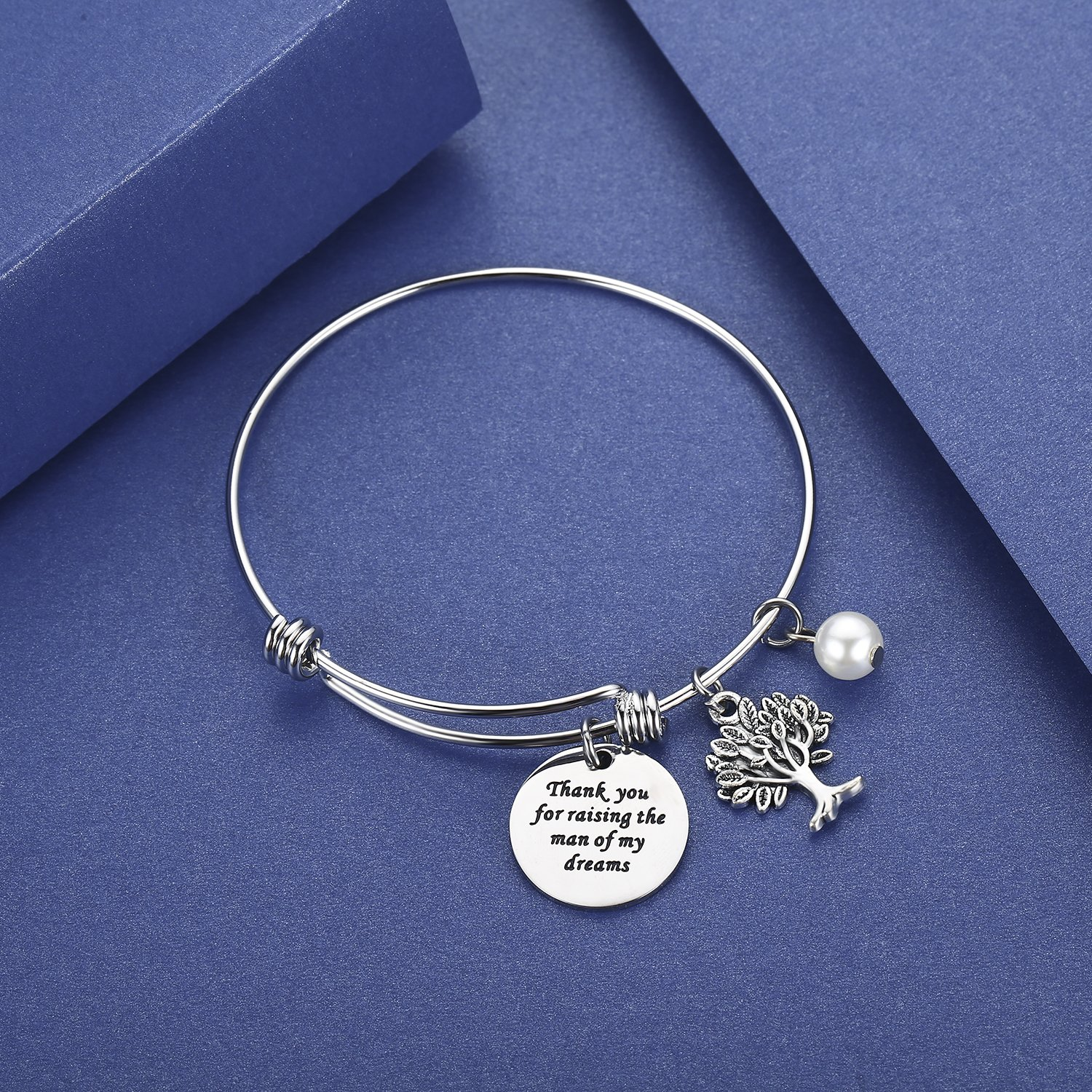 CJ&M Mother In Law Gift Family Tree Bracelet - Thank You For Raising The Man / I Will Take Care Of Her Always Bracelet Christmas Gifts,Mother's Day Gifts (Thank-Raising-Bracelet) by CJ&M (Image #3)