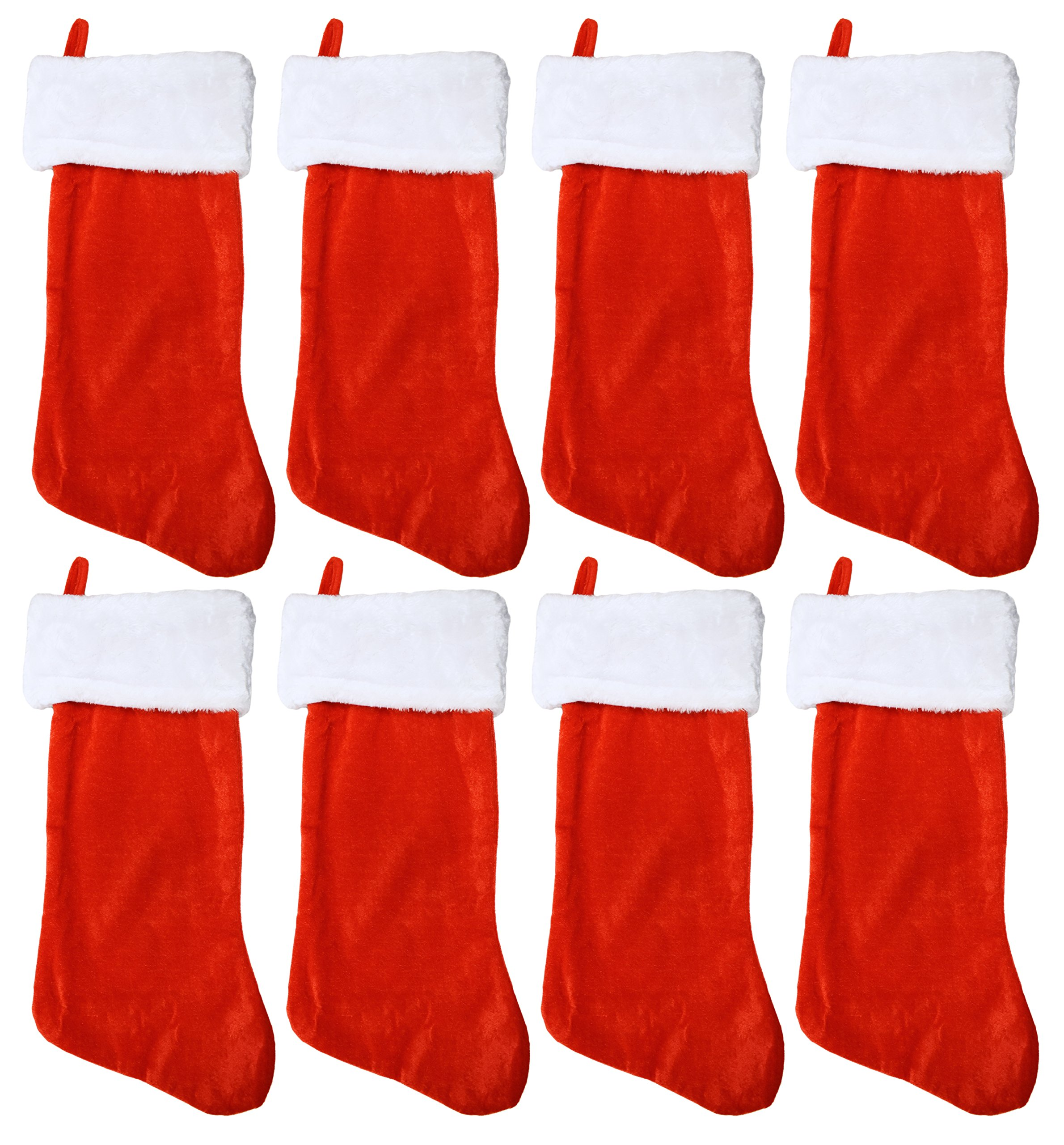 Set of 8 Black Duck Brand 19'' Red Soft Plush Stocking (8 Pack) W/White Plush Cuff & Red Hanging Tag