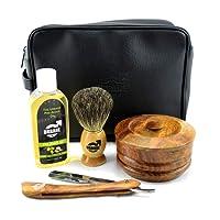 Urbane Men Traditional Shaving Complete Kit Gift Set - with Shaving Bowl, Soap, Brush, Post Shave Balm & Leather Case