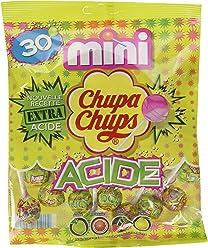 Chupa Chups Sachet de 30 Sucettes Mini Extra Acide 180 g - Lot de 8
