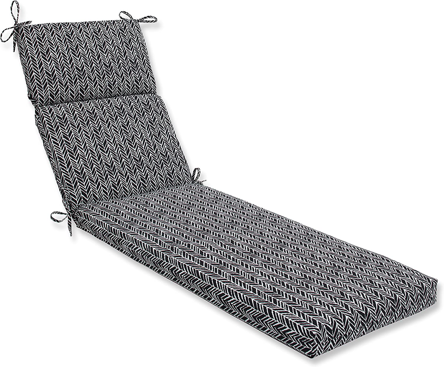"Pillow Perfect Outdoor/Indoor Herringbone Night Chaise Lounge Cushion, 72.5"" x 21"", Black"