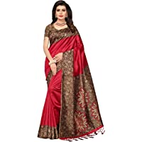 ishin Women's Art Silk/Blended Mysore Silk Printed Saree/Sari With Tassels