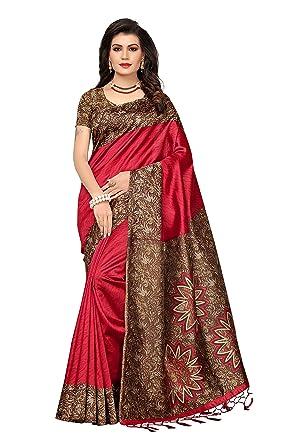 bc7baf2fd ishin Art Silk Saree with Blouse Piece (ishinrtrwz-3014 Red Free Size)