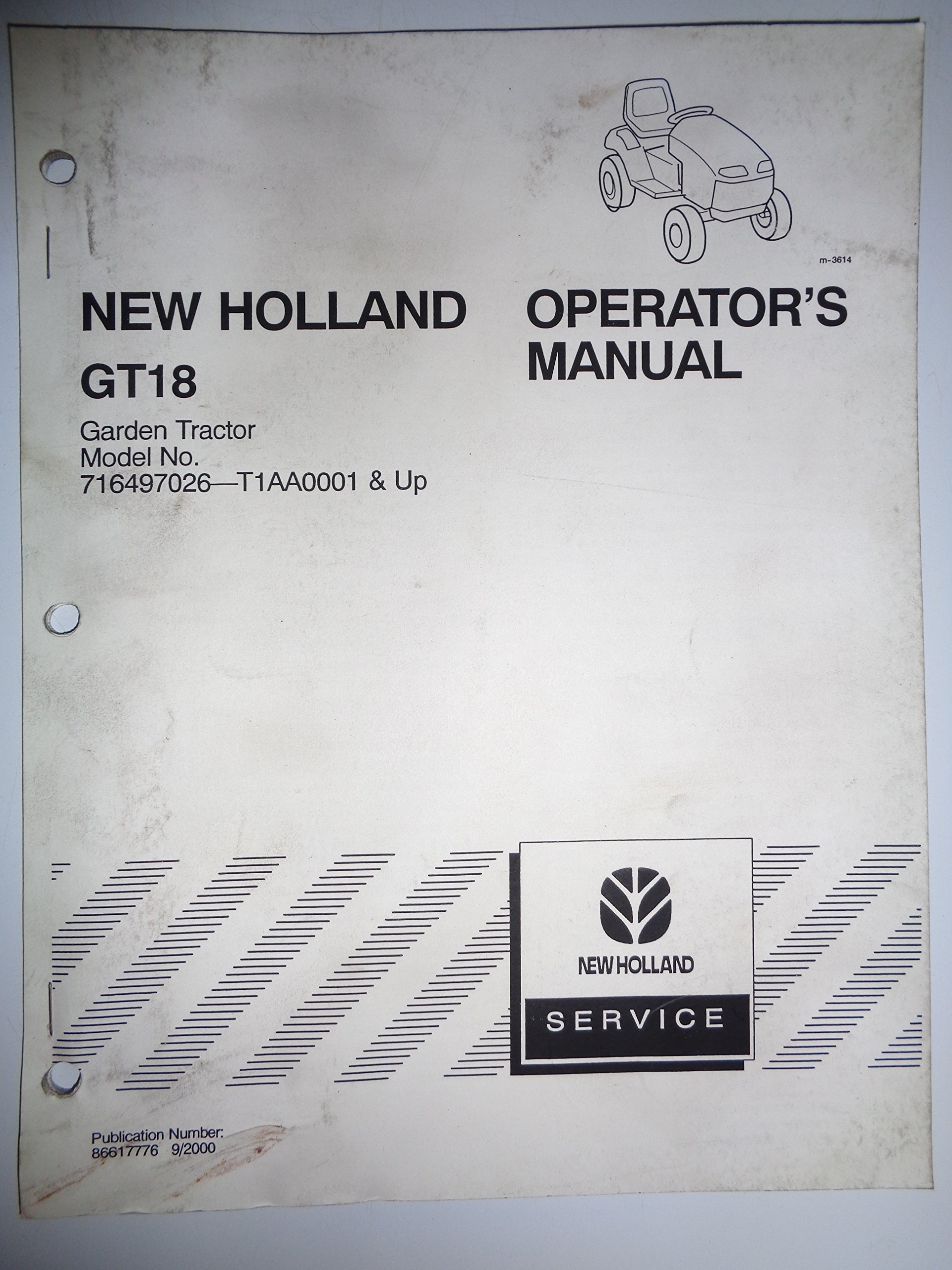 New Holland GT18 Model 716497026 Lawn Garden Tractor Operators Owners Manual  9/00: New Holland: Amazon.com: Books
