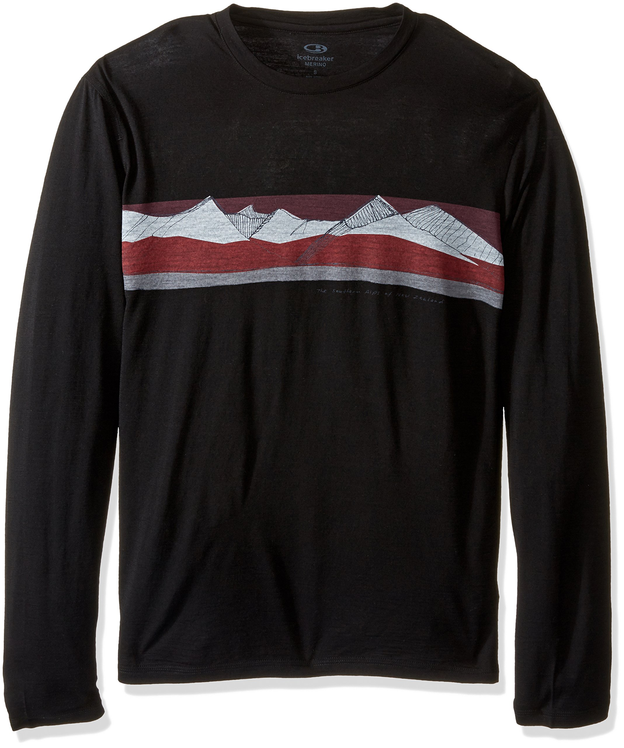 Icebreaker Merino Men's Tech Lite Long Sleeve South Alps Graphic Crewe T-Shirt, Black/Redwood, Large