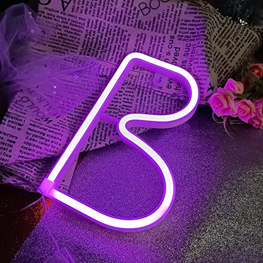 AMEVRGTHS Neon Signs Light up Letters B LED Custom Purple Letters Neon Sign, USB/AA Battery-Powered for Wall Decor Birthday Party Wedding Christmas(8.6x7.0x0.7inch)