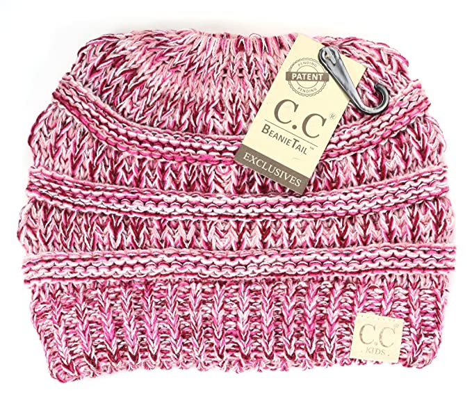 Camellia Charm CC Kids Baby Toddler Cable Knit Children s Beanie Tail Messy  Bun For Ponytails 232be53e006