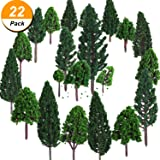 22 Pieces Model Trees 3 - 16 cm Mixed Model Tree Train Trees Railroad Scenery Diorama Tree Architecture Trees for DIY Scenery Landscape, Natural Green