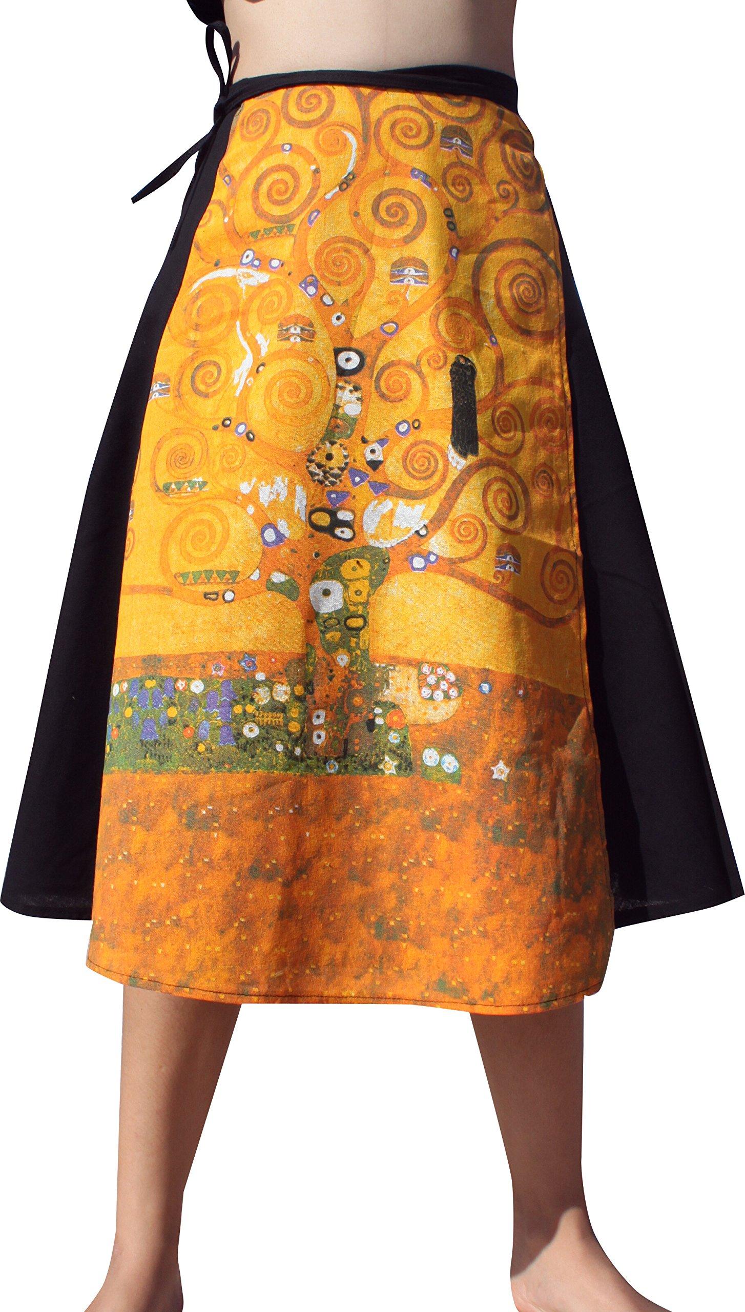 Raan Pah Muang RaanPahMuang Gustav Klimt The Tree Of Life 3/4 Length Wrap Skirt by Raan Pah Muang