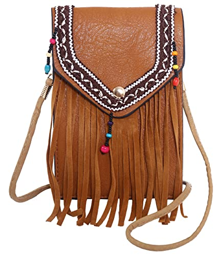 0f7459b6ea30f Pulama Vintage Cellphone Wallet Purse Leather Suede Crossbody Fringe Bag  Pouch for Womens Brown