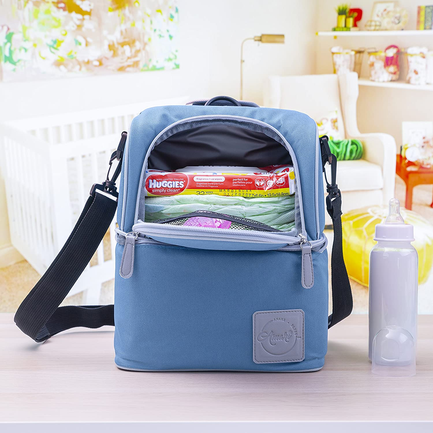 Diaper Bag Organizer - Insulated Diaper Bag Backpack with Ice Pack - Diaper Bag Cooler Lunch Box - Mommy Travel Bookbag - Baby Bottle Breast Milk Pump Breastfeeding Travel Tote (Blue/Grey) Amari Bliss