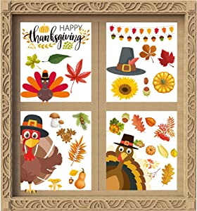 MISS FANTASY 67PCS Fall Leaves Stickers Window Clings Thanksgiving Maple Decorations Autumn Decals Party Decor Ornaments