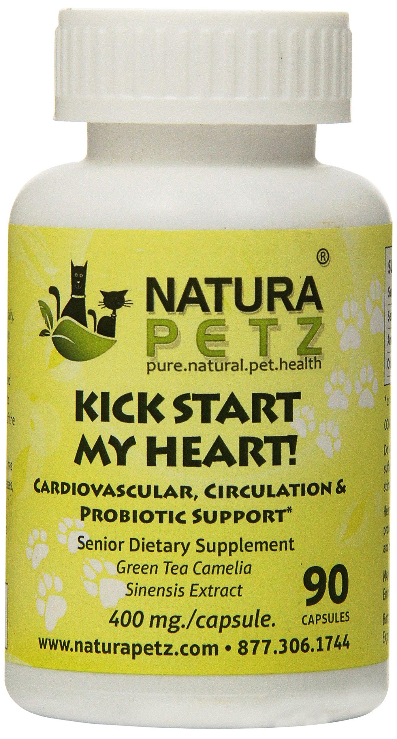 Natura Petz Kick Start My Heart Probiotic Cardiovascular and Circulation Support for Senior Pets, 90 Capsules, 400mg Per Capsule
