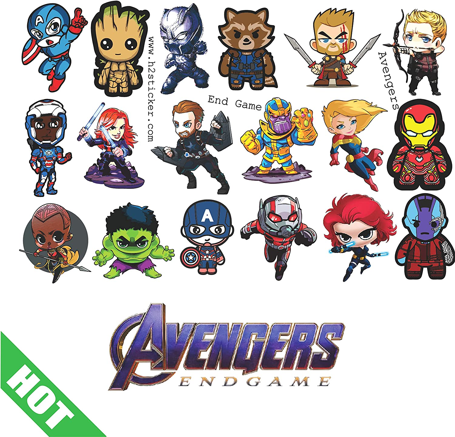 Avengers Sticker, Waterproof Vinyl, Chibi Funny Decal of Endgame, Marvel: Thanos, Ironman, Captain America, Thor. Sticker Scrapbooking Luggage Laptop Skateboard Phone Guitar Motorcycle. by H2 Studi