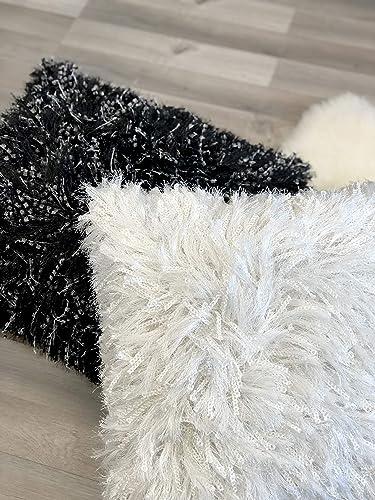 Urban Loft by Westex Shiny Shag White Feather Filled Decorative Throw Pillow Cushion, 20 x 20