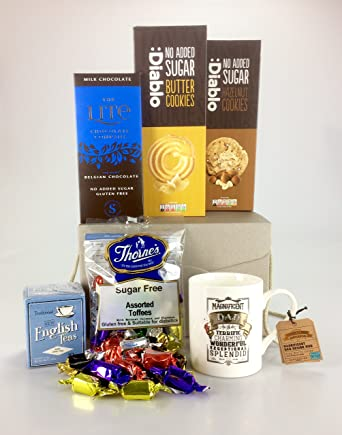 Deluxe diabetic dad themed sugar free food hamper biscuits chocolate deluxe diabetic dad themed sugar free food hamper biscuits chocolate sweet cup unique gift birthday negle Image collections