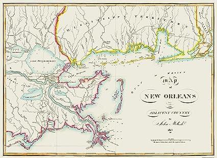 Amazon Com Old City Map New Orleans Louisiana 1815 31 5 X 23