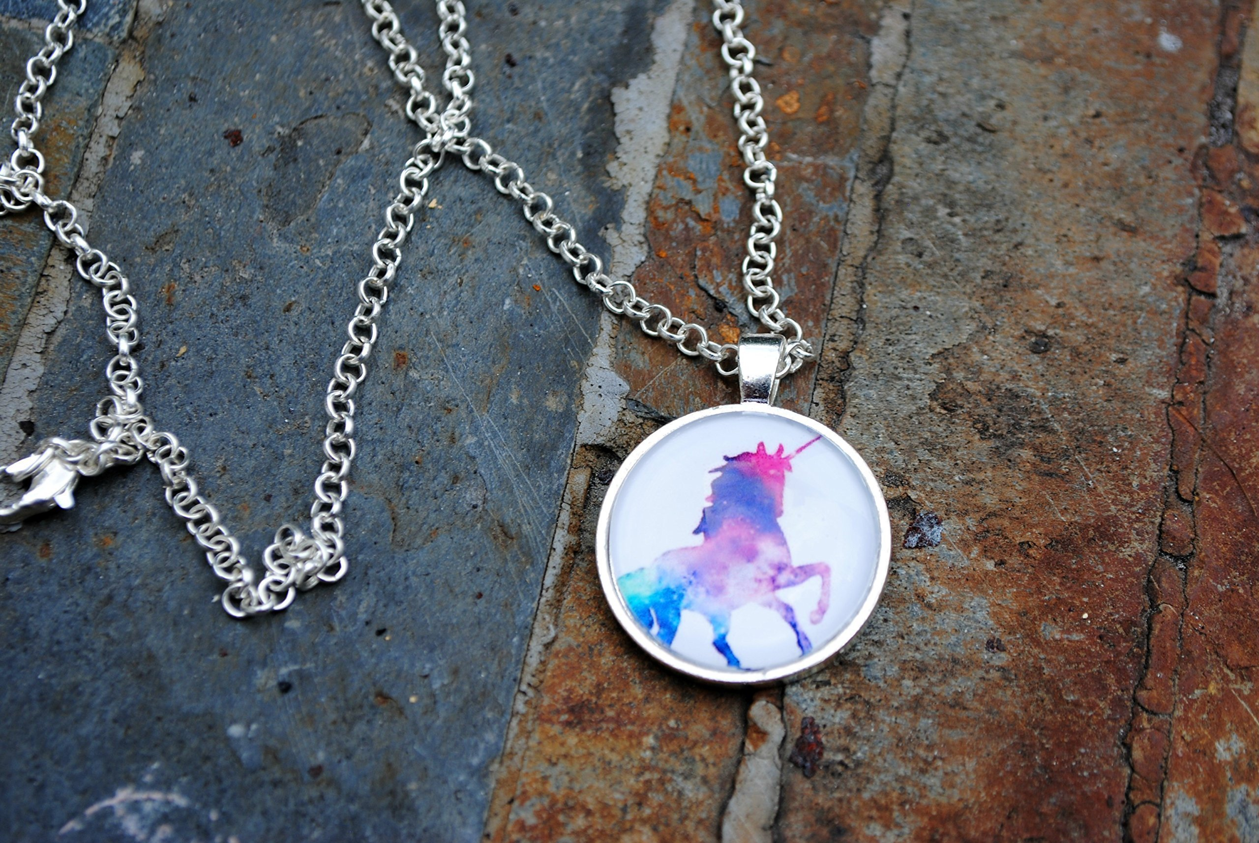 Magical Rainbow Unicorn Glass Dome Circle Pendant Necklace 24 Inch Chain Jewelry 3