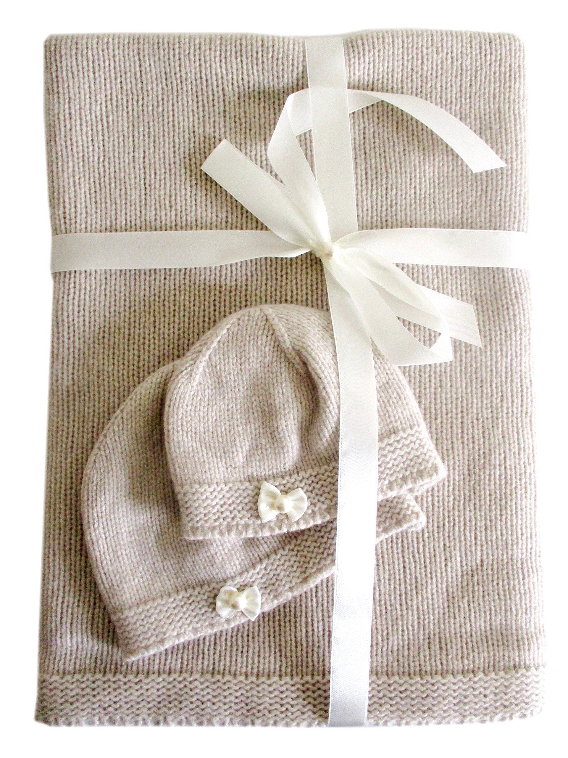 Frost Hats Cashmere Baby Blanket and Hats Set Little Bows Beige