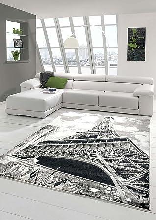 Traum Designer Teppich Moderner Teppich Wohnzimmer Teppich Eiffelturm Motiv  Grau Schwarz Creme Größe 160x230 cm