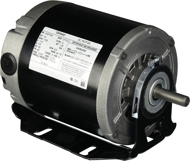 1/3hp 1725RPM 48/56Frame 115 volts Belt Drive Furnace Motor Century # GF2034 - Electric Fan Motors -