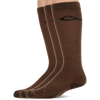 Drake Men's Ultra-Dri Lightweight Casual Crew Boot Socks 3 Pair Pack, Brown, Large at Men's Clothing store
