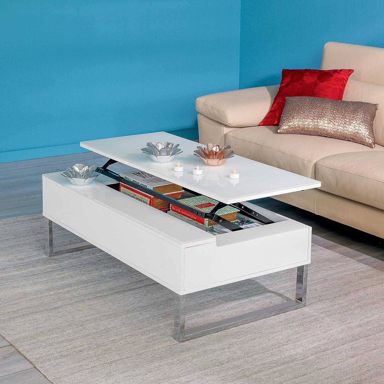 Novy Table Basse Avec Tablette Relevable Blanche Blanc