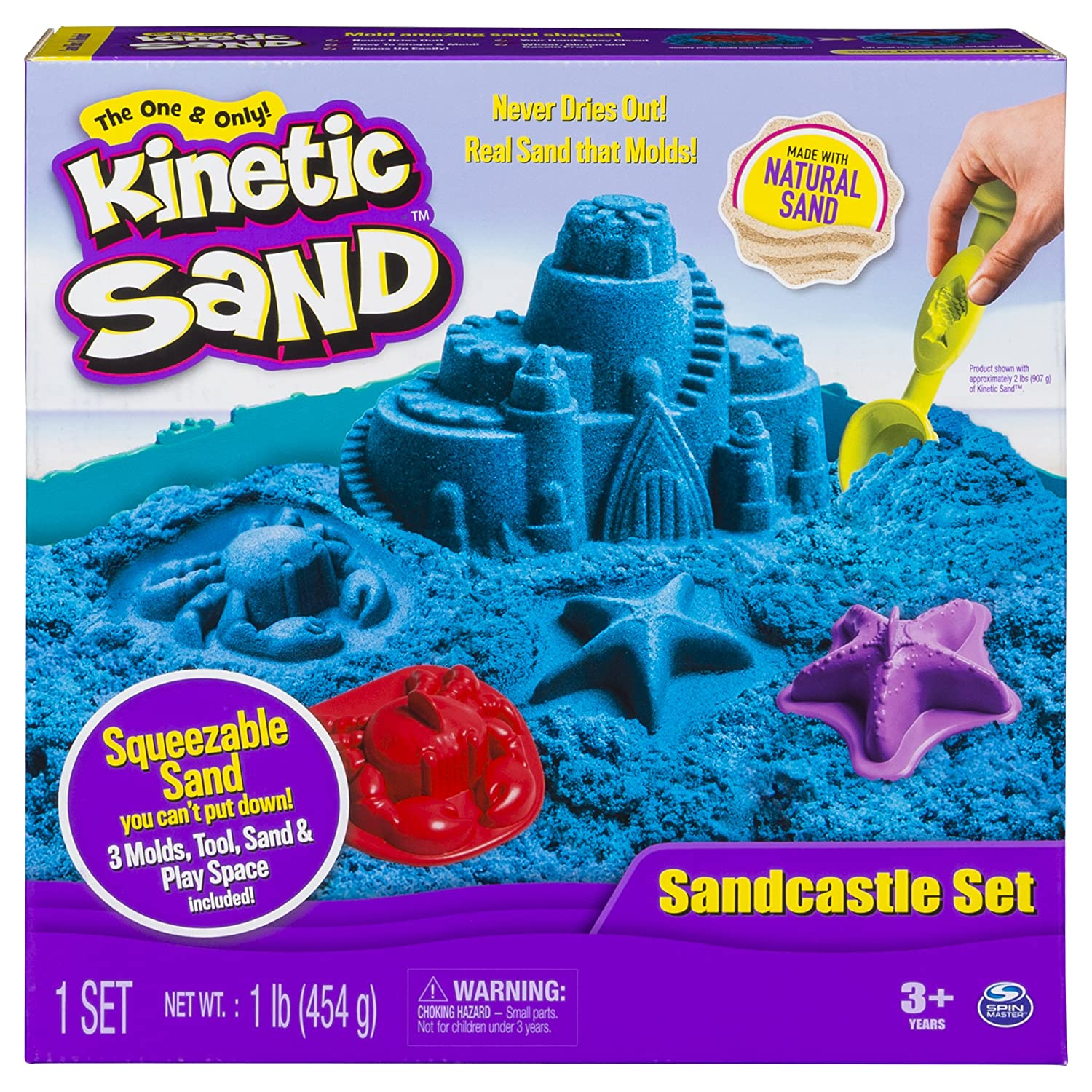 Kinetic Sand The One Only Sandcastle Set 1lb Sand, Molds Tools (Colors Vary) Spin Master 20073644